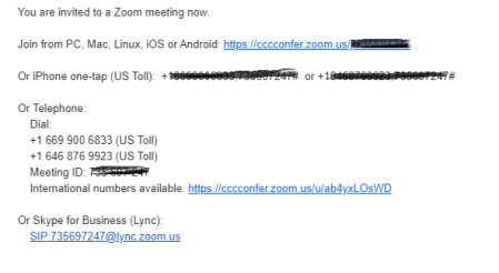 Example Zoom email