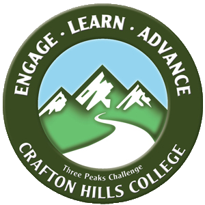 Crafton Hills College Three Peaks Challenge Logo. Engage - Learn - Advance