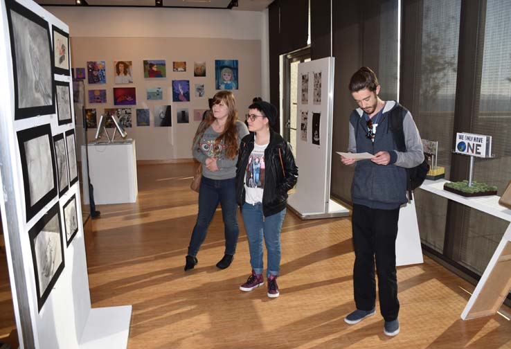 Students at the exhibit