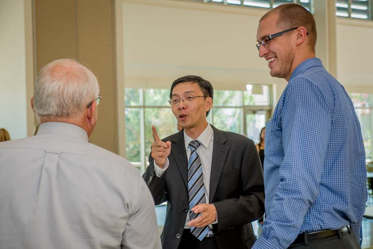 The Crafton Hills community welcomes Dr. Zhou at reception.