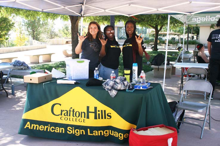 ASL club at Crafton Hills College club rush.