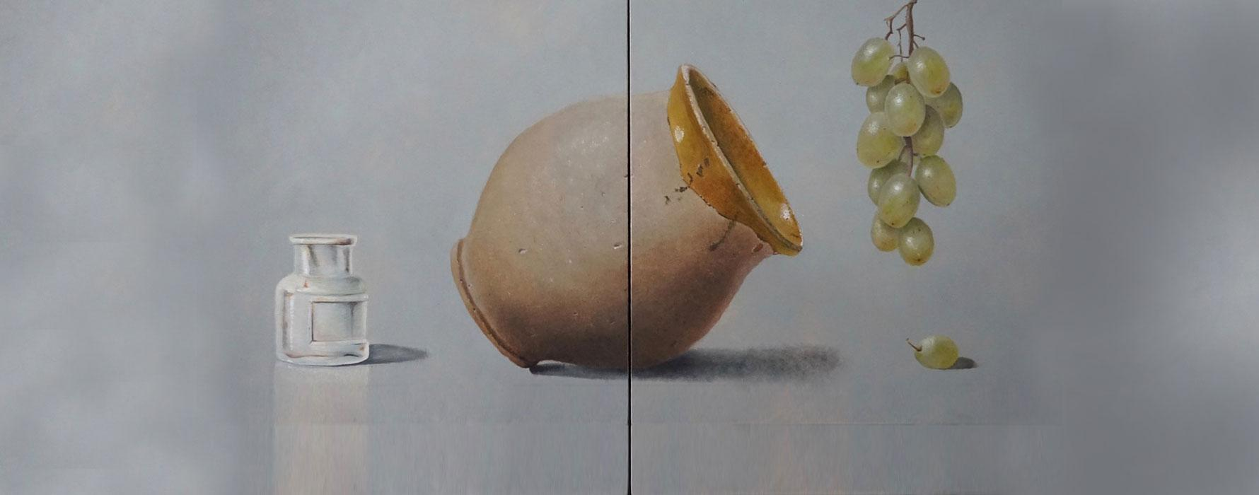 Painting of bottle, jar and grapes