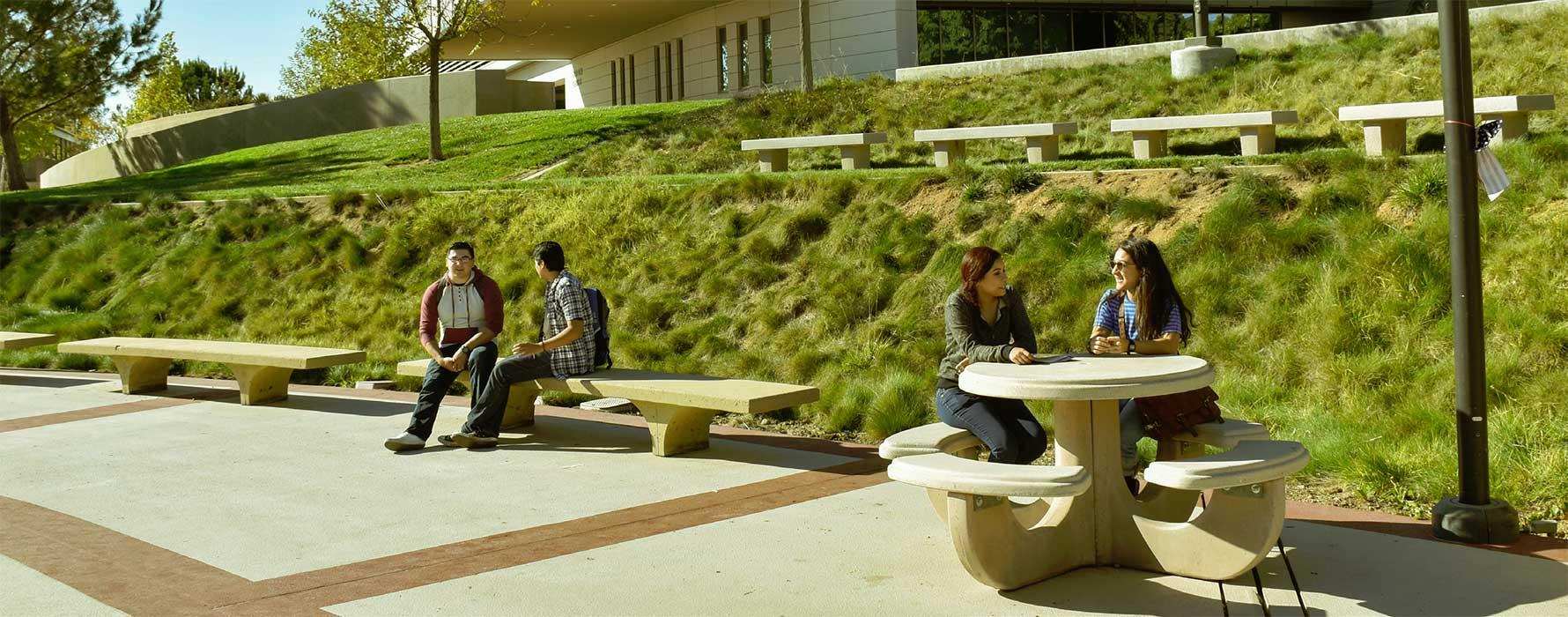 Students sitting at tables