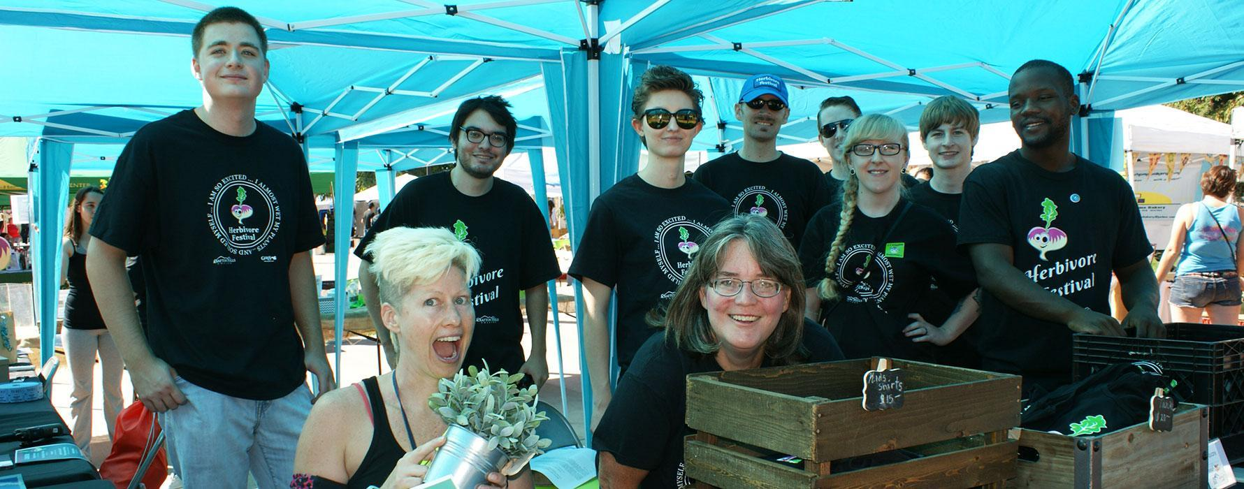 Students and faculty at Herbivore Festival