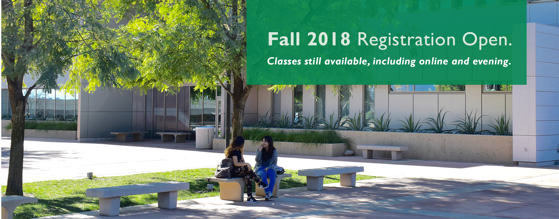Fall 2018 Registration Open. Classes still available, including online and evening