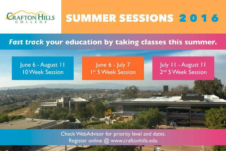 Crafton Hills College Summer Sessions 2016: Fast track your education by taking classes this summer.  June 6 - August 11: 10 Week Session, June 6 - July 7: 1st 5 Week Session, July 11 - August 11: 2nd 5 Week Session.  Check WebAdvisor for priority level and dates. Register online @ www.craftonhills.edu