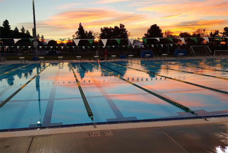 Crafton pool at sunset