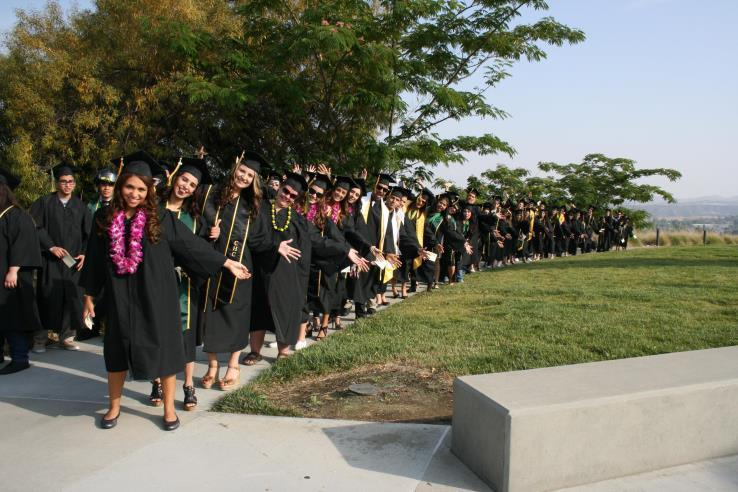 Students lined up for Commencement