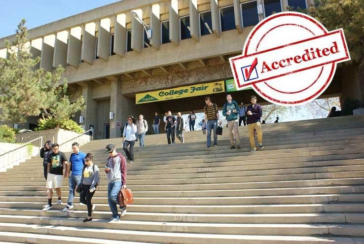 Students walking down campus steps