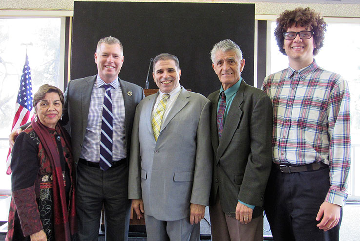 Kevin Horan (second from left), ninth president of Crafton Hills College, is welcomed by SBCCD Trustee Gloria Macias Harrison, Chancellor Brue Baron, SBCCD Trustee Frank Reyes, and CHC Student Trustee Elijah Gerard.