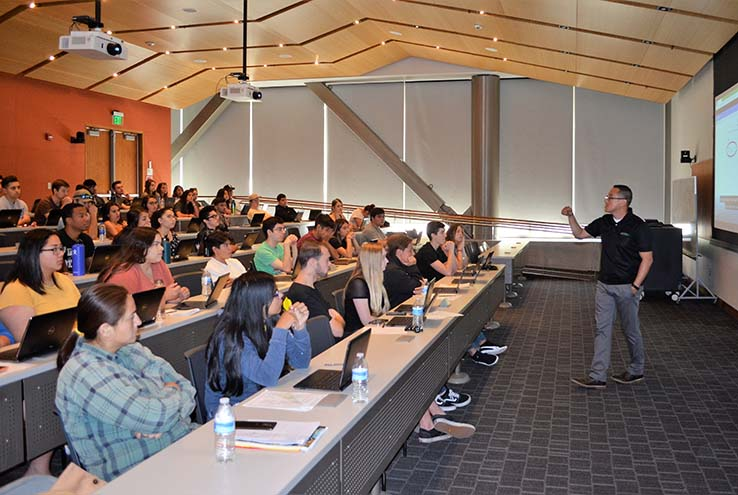 Counselor Ernesto Rivera leading a Promise Program Orientation