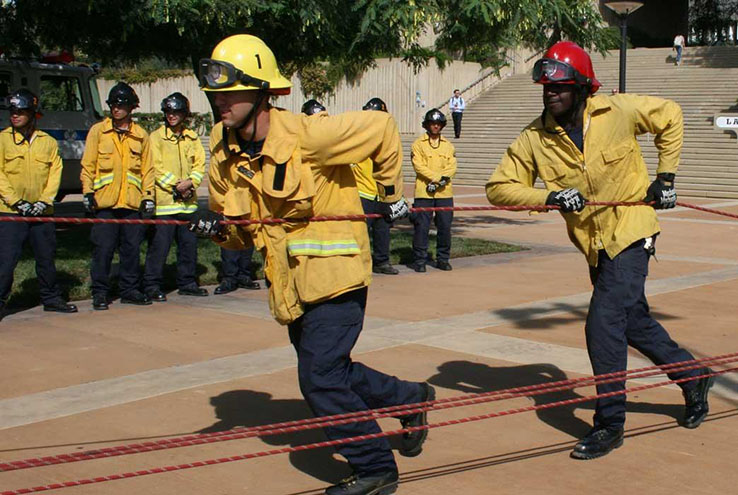 Fire cadets doing exercises