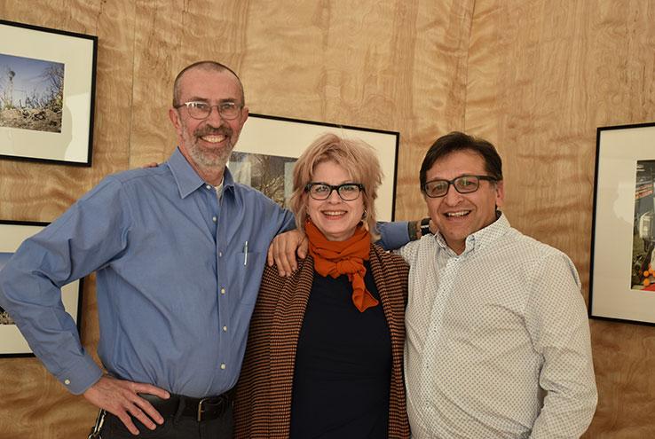 Thomas McGovern, Renée Azenaro and Juan Delgado pose in the CHC Art Gallery, now showing i.e. vistas, through February 15.