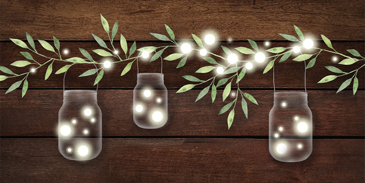 Garland with mason jars and firefly lights