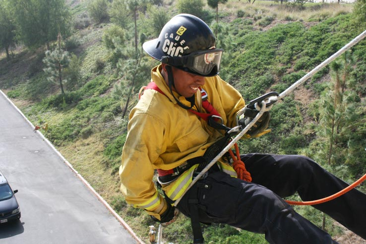 Fire cadet rappelling