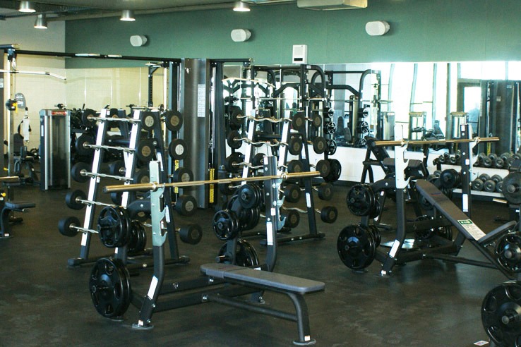 Various workout equipment in the college gym.