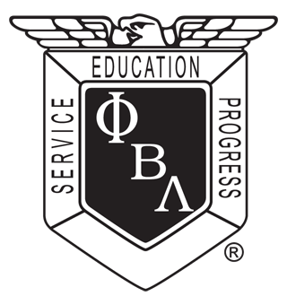 "Shield with the words ""Service-Education-Progress"" and the Greek letters Phi Beta Lambda"